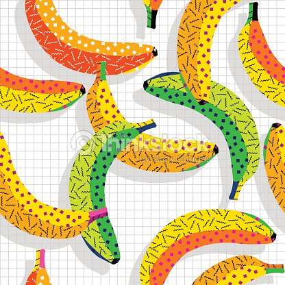 Retro 80s Banana Pattern Background stock vector - Thinkstock