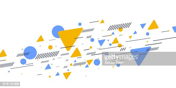 Retro abstract geometric background. The poster with the flat figures : Arte vettoriale