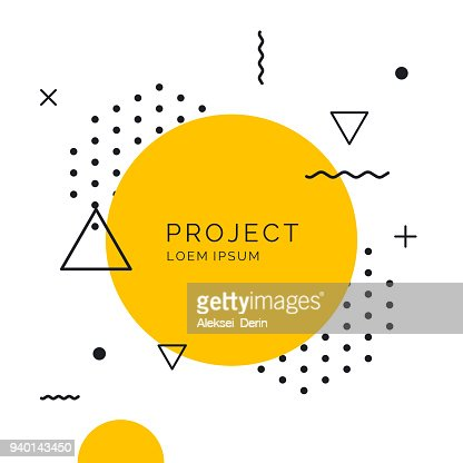 Retro abstract geometric background. The poster with the flat figures : Vector Art