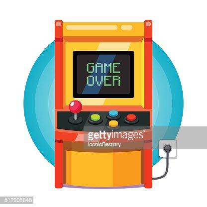 Retro arcade machine plugged in : Vector Art