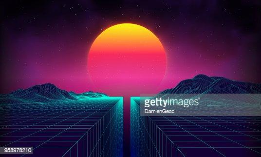 Retro-futuristische Landschaft der 1980er Jahre Hintergrundstil. Digitalen Retro-Landschaft Cyber-Oberfläche. 80er Jahre party Hintergrund. Retro 80er Jahre Mode-Sci-Fi Hintergrund Sommerlandschaft : Vektorgrafik