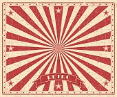 Grunge circus vintage  background. Horizontal retro poster. Vector illustration with red rays