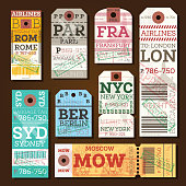 Retro Baggage Tags. Vector Illustration. Luggage Label from Rome, Paris, Frankfurt, London, Sydney, Berlin, Moscow and New York.