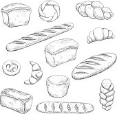 Bakery and pastry sketches with engraving stylized fragrant freshly baked baguette, healthy rye and delicious wheat bread loaves, croissants with chocolate fillings, soft pretzel and braided buns