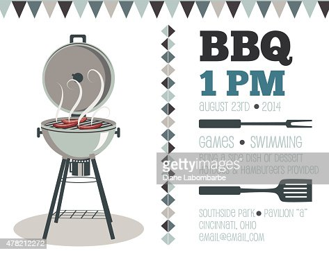 Retro Bbq Invitation Template Vector Art | Getty Images
