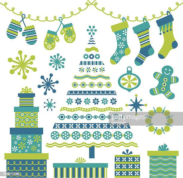 Retro Blue Christmas Tree and Design Elements