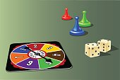 retro board game pieces, spinner and dice. Vector illustration