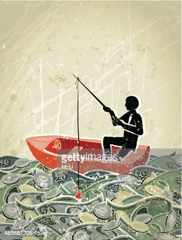retro business man fishing in a sea of money vector art