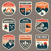 Set of vintage outdoor camp badges and emblems.