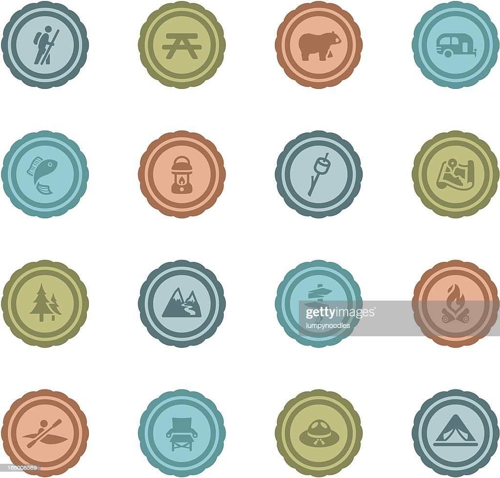 Retro Camping Badges : Vector Art