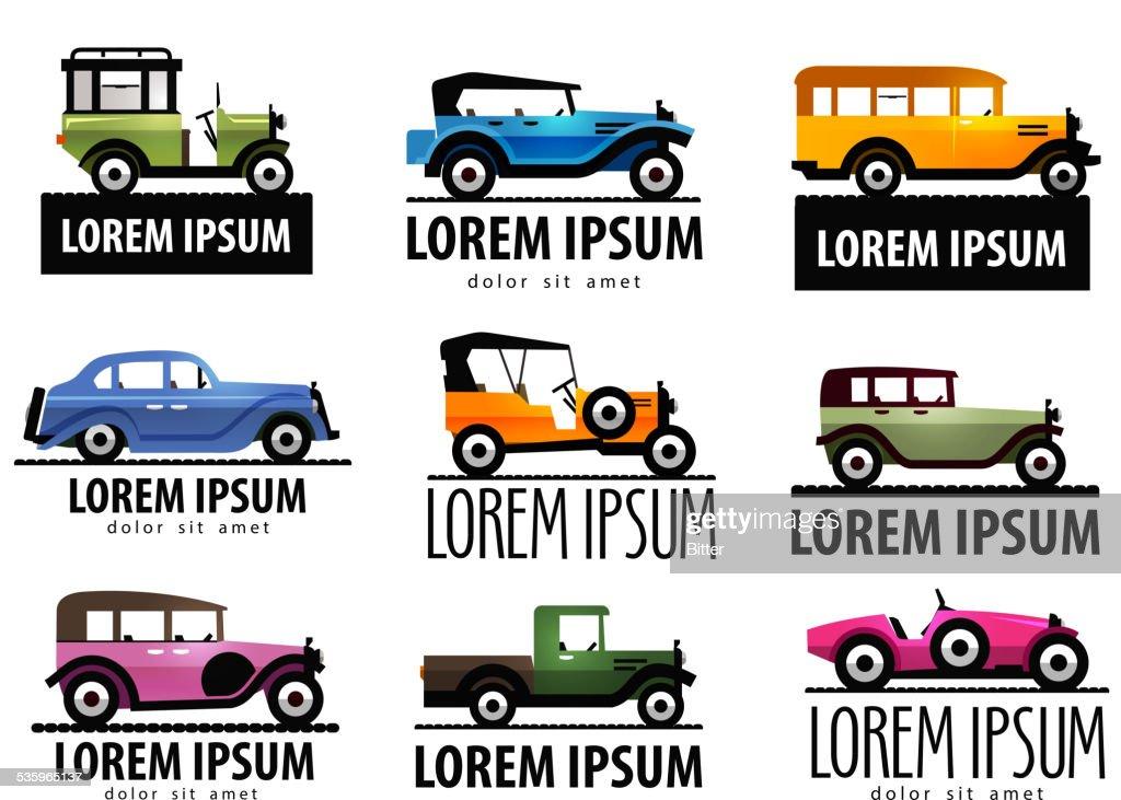retro car vector logo design template. transport or transportation icon : Vector Art
