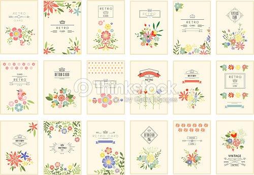 Tarjeta Retra Con Conjunto De Flores Vintage Romantica Tarjetas De