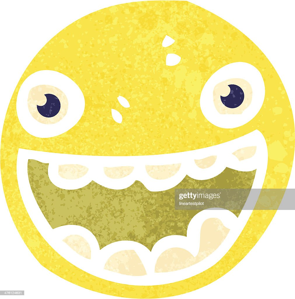 Retro Cartoon Happy Face Symbol Vector Art Getty Images