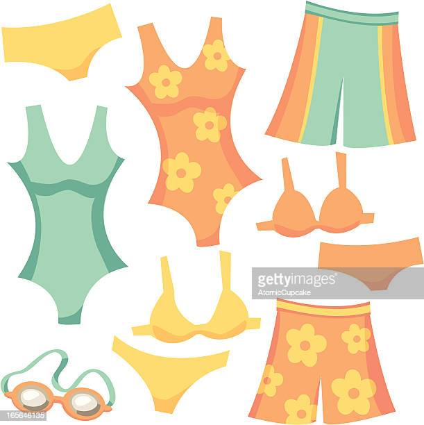 Retro Cartoon Swimwear: Shorts, Tank, Bikini, and Goggles
