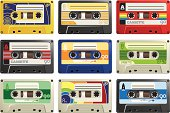 Various styles of tape cassettes.