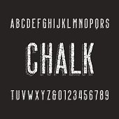 Retro chalk board alphabet font. Letters and numbers on a dark background. Vintage vector typography for your design.