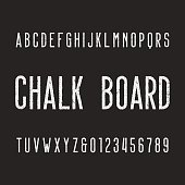 Retro chalk board alphabet font. Letters and numbers on a dark background. Vector typeface for your design.