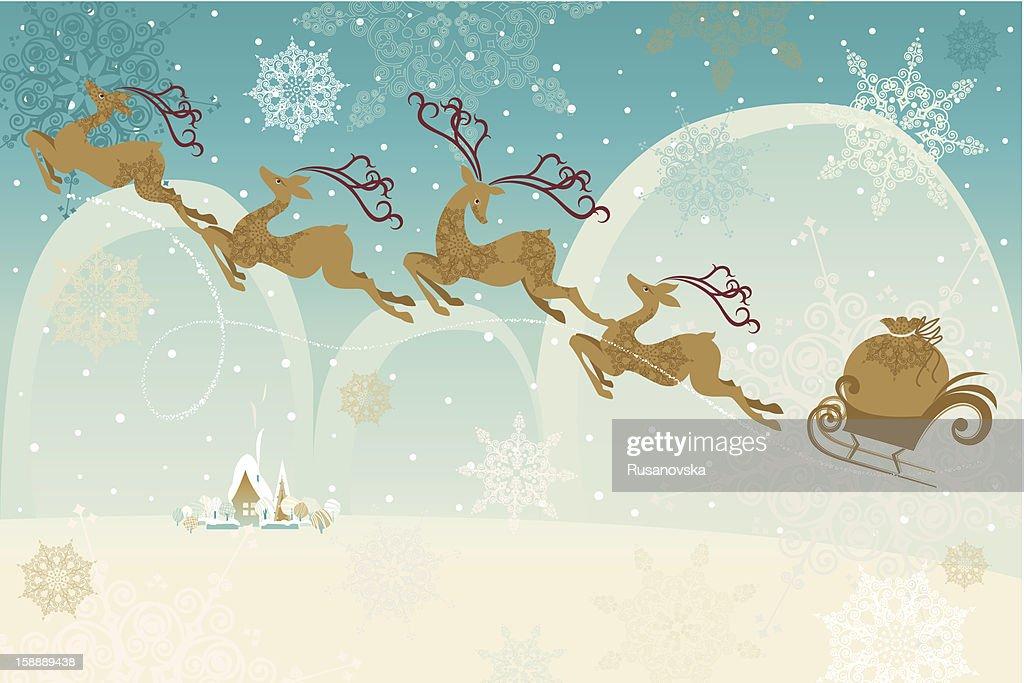 Retro Christmas Background : Vector Art