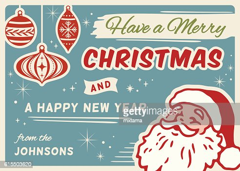 Retro Christmas Card with Santa and Copy Space : Clipart vectoriel