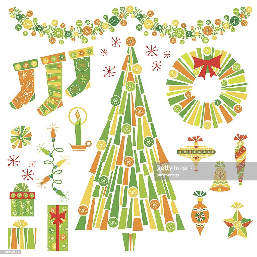 Retro Christmas Decorations : Vector Art