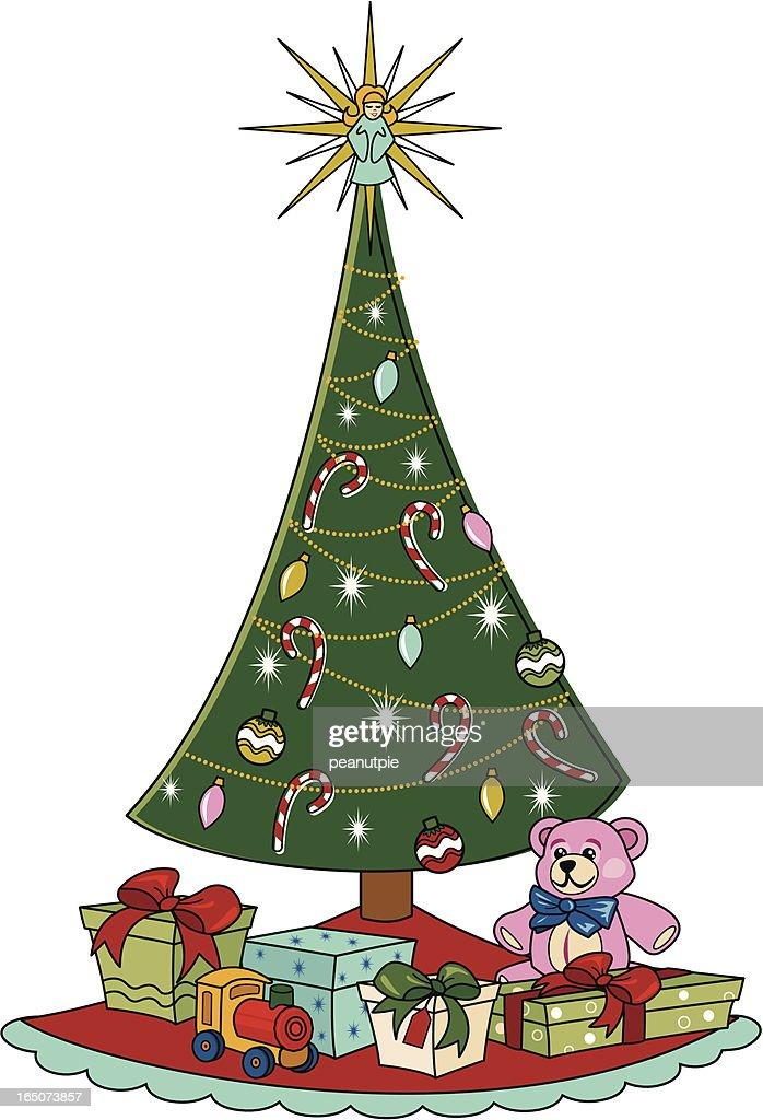 retro christmas tree vector art - Retro Christmas Tree