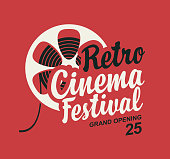 Vector retro cinema festival poster with old film strip reel and calligraphic inscription. Cinema banner, can be used for poster, flyer, billboard, web page, background, ticket