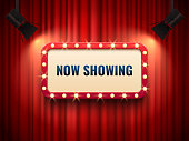 Retro cinema or theater frame illuminated by spotlight. Now showing sign on red curtain backdrop. Vintage Hollywood movie premiere signs vector template