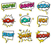 Expression text BANG, YES, NO, LOL, BANG, BOOM, COOL, OMG, WOW, OOPS. Vector illustration, pop art style.