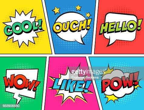 Retro comic speech bubbles set on colorful background. Expression text OUCH, COOL, LIKE, HELLO, WOW, POW. : Arte vetorial