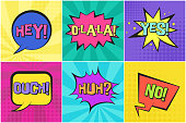 Bright colorful contrast retro comic speech bubbles set with YES, NO, OUCH, HUH, HEY on striped background. Message balloons with halftone shadow in pop art style for advertisement, comics book design