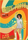 Retro dance party poster. Vector illustration.