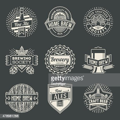 Retro Design Insignias Logotypes Home Brewery Set 2 Vector Art