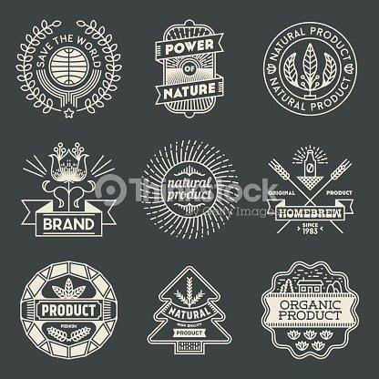 0a9718bf92b Retro Design Insignias Logotypes Natural Product Set Vector Art ...
