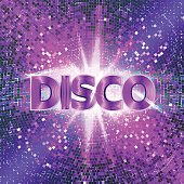 Retro Disco party background with sparkles and glitter, glow light effect. Vector illustration.
