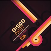 Retro disco party invitation card. Vector illustration.