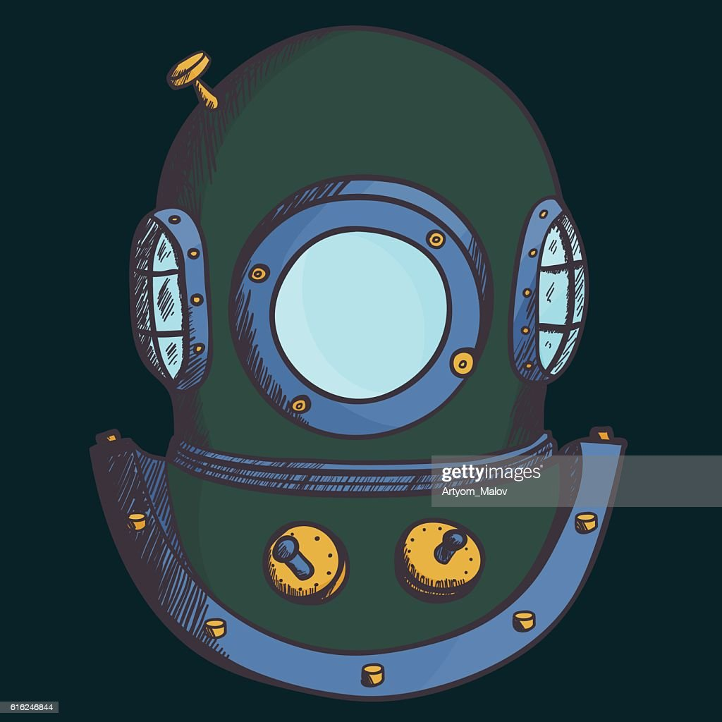 Retro diver helmet : Vector Art
