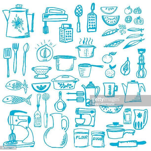 Illustrations et dessins anim s de cuisine getty images for Ustensiles de cuisine retro