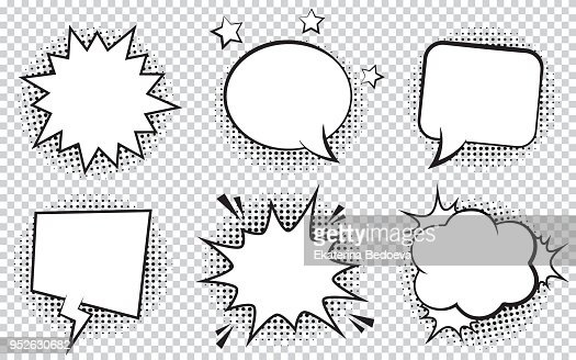 Retro empty comic bubbles and elements set with black halftone shadows on transparent background. : stock vector