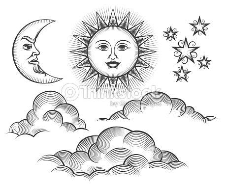 レトロな刻まれた月、太陽天面 : ベクトルアート