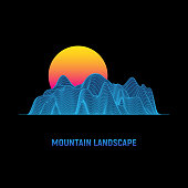 Retro futuristic background. Cyber surface. Mountain landscape with sun. Digital wireframe landscape in 1980s style. Vector illustration.