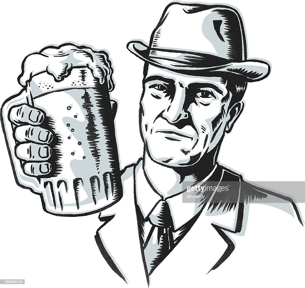 retro gangster beer toast vector art getty images