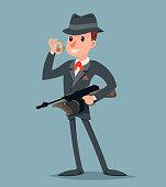 Retro Gangster Submachine Gun Thug Criminal Character Icon Retro Cartoon Design Vector Illustration