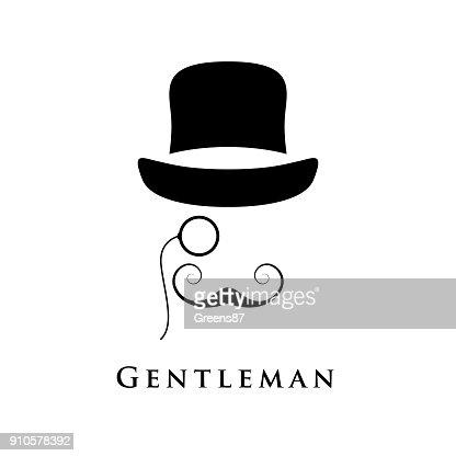 Retro gentleman with hat, an eyepiece and beautiful mustache. : Vector Art