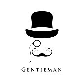 Retro gentleman with hat, an eyepiece and beautiful mustache. Vector illustration.