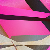 Retro geometric background with pink colorful shapes on textured paper
