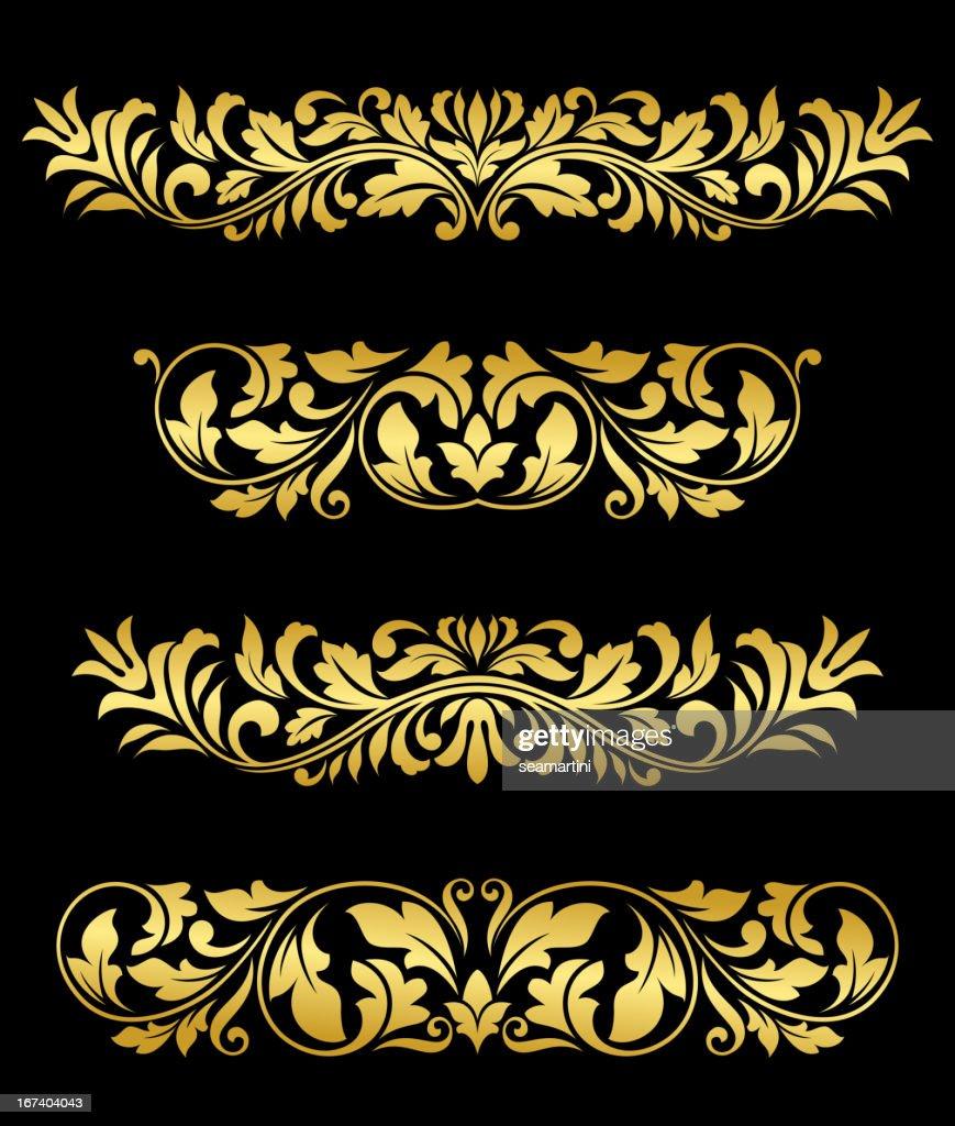 Retro gold floral elements and embellishments : Vectorkunst