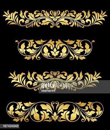 Retro gold floral elements and embellishments : Vector Art
