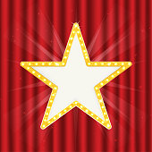 Retro gold star. Vintage frame with lights isolated red on curtain. Vector