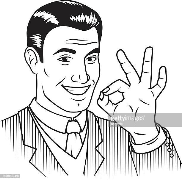 Rétro homme donnant panneau «OK»