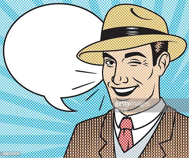 Caractère bandes dessinées rétro-teinte avec bulle de dialogue